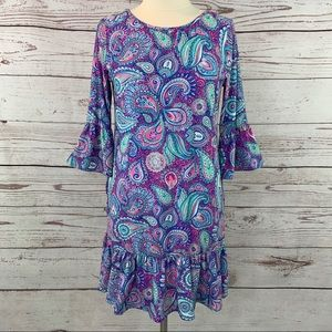 Simply Southern Paisley Knit bell sleeve ruffle
